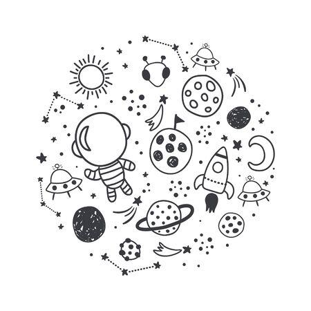Vektor-Illustration, raumbezogene Bilder in einem Kreis angeordnet