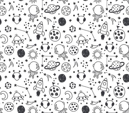 vector seamless pattern, cute hand drawn space elements