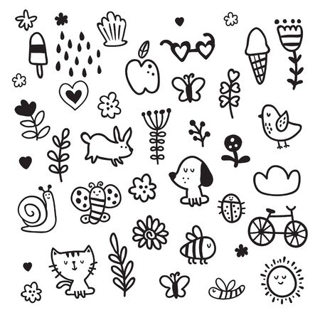 vector set of monochrome cute hand drawn elements for kids