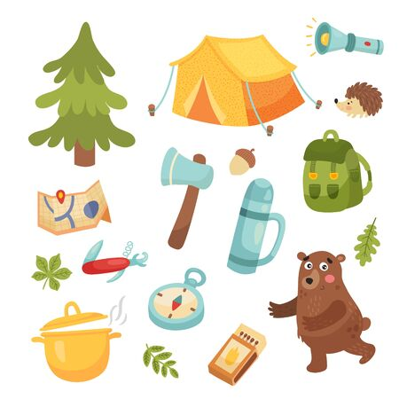 vestor set of objects related to camping, isolated background Иллюстрация