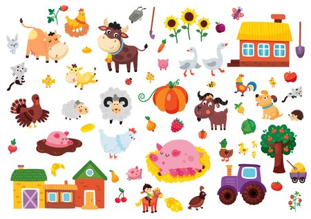 vector set of farm related objects, animals, houses, fruit and vegetables