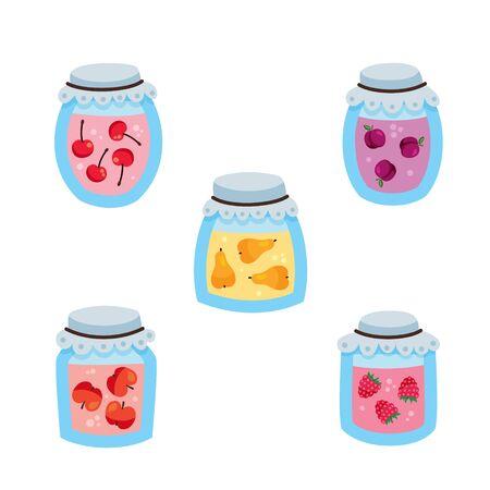 vector illustration, set of jars with jam