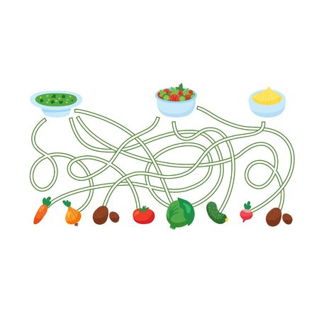 vector illustration of activity for kids, guess which vegetable is used for which dish