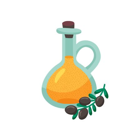 vector illustration of an oil bottle an branch of olive  Иллюстрация