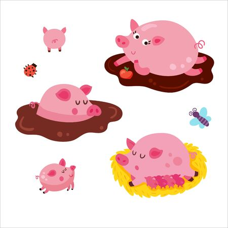 vector set of cute pigs on white background