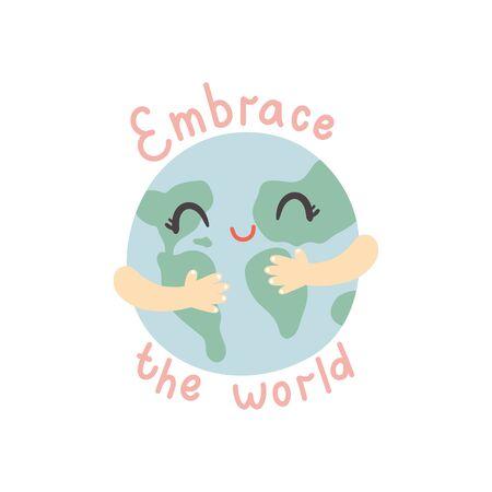 vector illustration, cute cartoon hands hugging the Earth