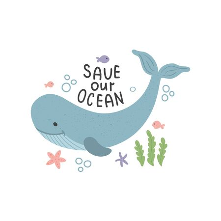 vector illustrations of whale and sabe the oceans hand lettering text Иллюстрация