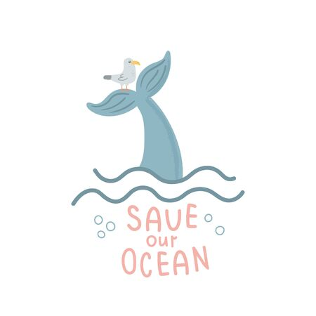vector illustrations, whale's tail, seagull and save the ocean text