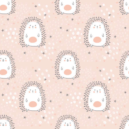 vector seamless pattern, adorable hedgehogs on a pink background