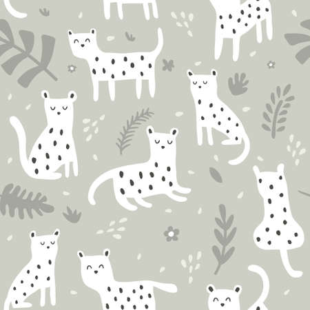 vector seamless pattern, cute leopards on gray background and tropical leaves Иллюстрация