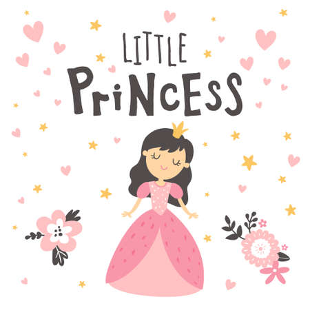 little princess in pink dress and lettering text