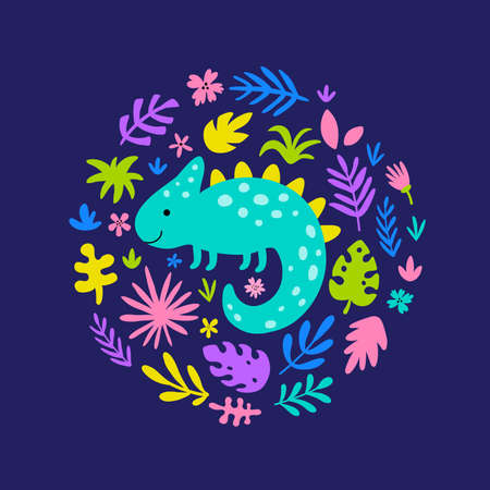 vector illustration of cute iguana in circle