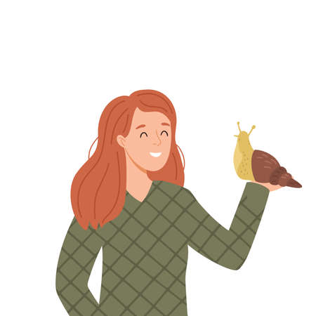 vector illustration of a woman with snail
