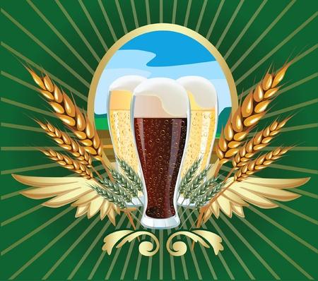 produits céréaliers: Vector illustration de l'étiquette de la bière d'orge Illustration