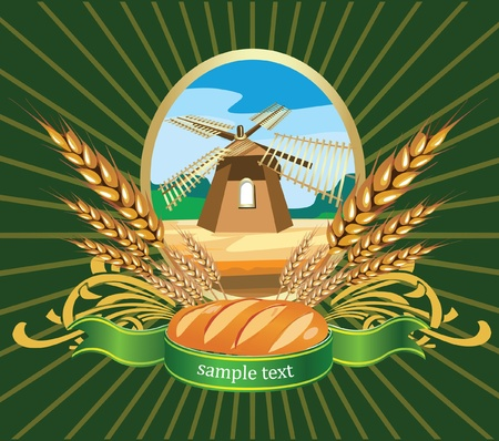 Ilustración vectorial de trigo pan etiqueta