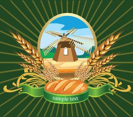 cereal: Ilustración vectorial de trigo pan etiqueta