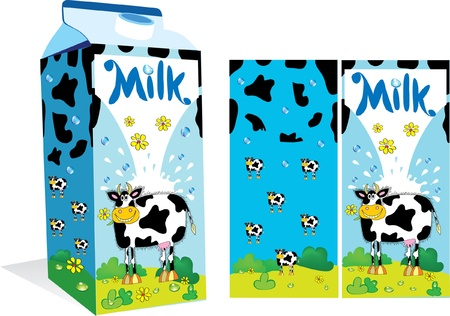 Vector package for milk with a  cow