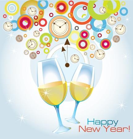 Vector carta di Felice Anno Nuovo con bicchieri di champagne