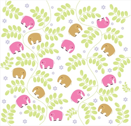 Vector seamless pattern displaying vintage garden and baby Elephants