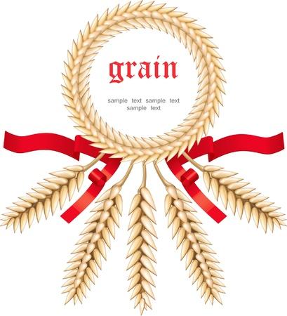 Stylized ears of wheat, label