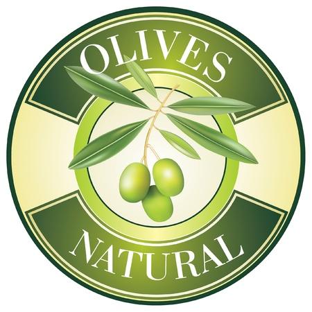 Label for product. Olive oil. Green olives.