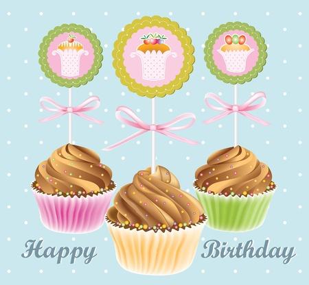 Congratulatory card with chocolate fruitcakes Vector