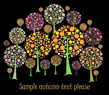Beautiful autumn tree vector card