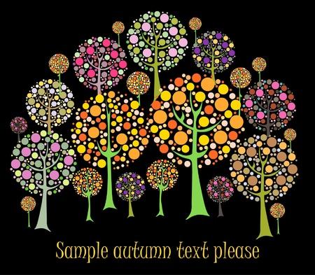 orange tree: Beautiful autumn tree vector card