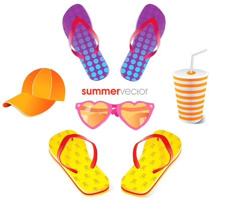 summer beach items isolated on withe Vector