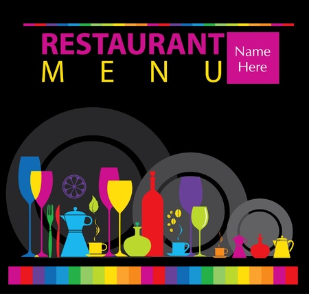 dinner party: Restaurant menu design  Illustration