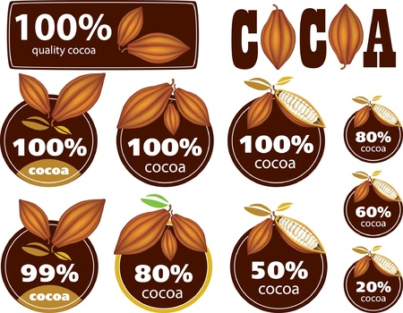 ココア: パーセントのココア シールマークアイコン  イラスト・ベクター素材