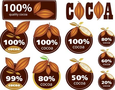 cacao: Por ciento del cacao del sello  marca  icono Vectores