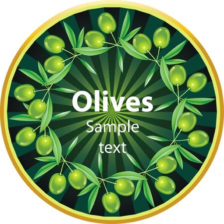 aceite de oliva virgen extra: Etiqueta para el producto. El aceite de oliva. Aceitunas verdes. Vectores