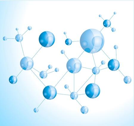 illustration molécule sur fond bleu