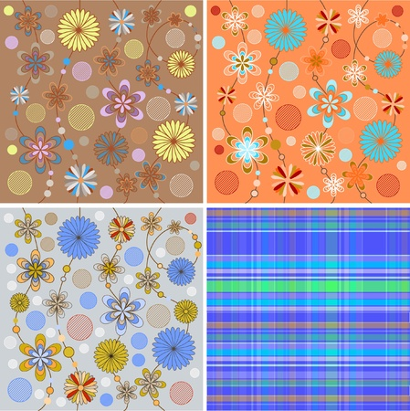 Flower drawings in different shades Vector