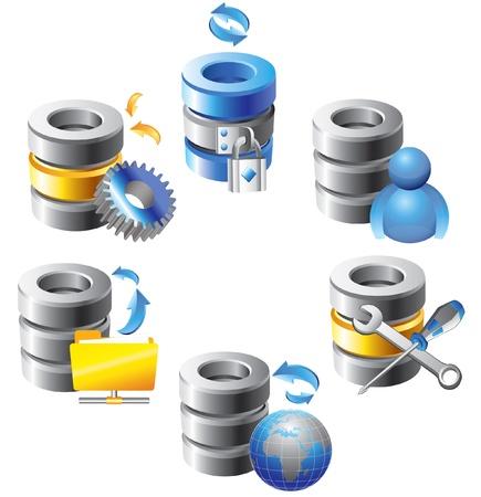 archiv: Datenbank - Web Hosting Icons Illustration