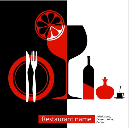 fork glasses: Black   red menu for cafe, restaurant Illustration