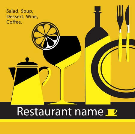 yellow restaurant menu Vector