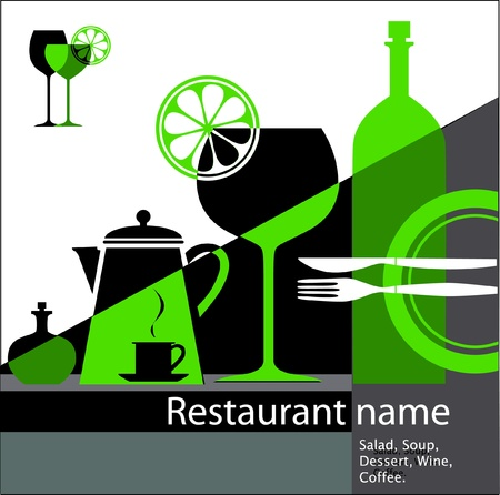 green restaurant menu Vector
