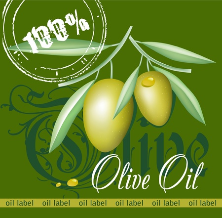extra: Label for product  Olive oil  Green olives  Illustration