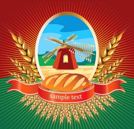 agrario: Vector pan de la etiqueta