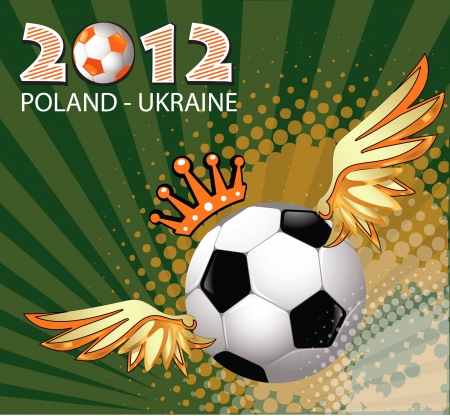 2012 Football Poland Ukraine flag symbol with soccer ball  Vector