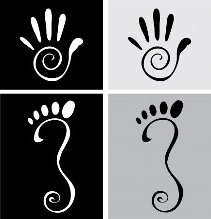 krökt: illustration av stiliserade hand och fot Illustration