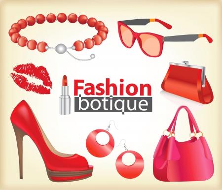 purse: Fashion boutique set, stylized doodles Illustration