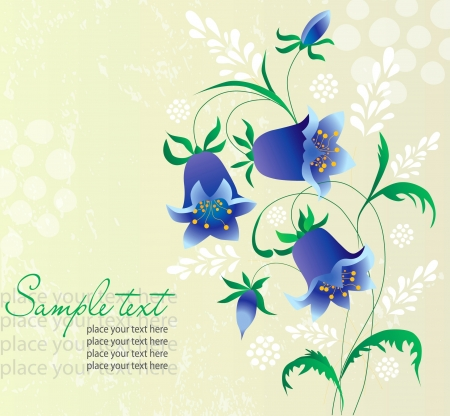 Card abstract flowers hand bell Illustration