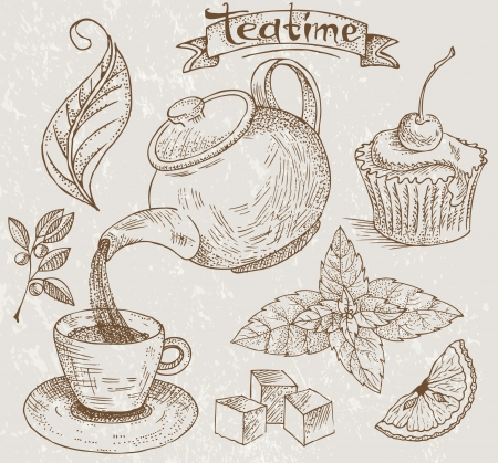 tea leaf: Teatime icons