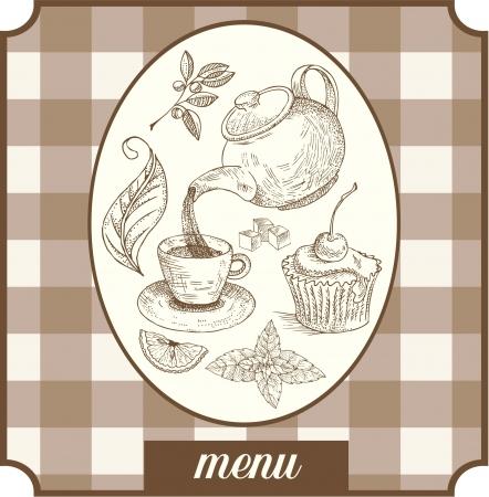 kitchen ware: Menu teatime label design Illustration