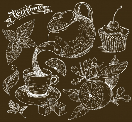 british foods: Decorative background tea drinking tea, lemon, cake, mint Illustration