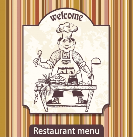 Menu with drawing the cook with a scoop invites Vector