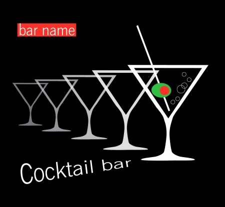 copa martini: Cocktail bar Vectores